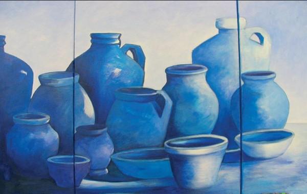 """Триптих """"Сини вази"""" – рисуване стъпка по стъпка"""